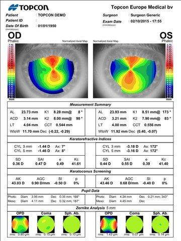 biometro optico biometros opticos topcon equipamiento oftalmologico topografo corneal barrett olsen hoffer srk camellin calossi lentre intraocular analisis zernike biómetro óptico